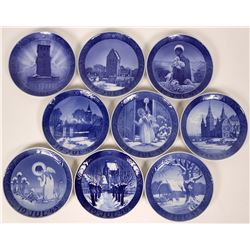 Royal Copenhagen Christmas Plates: 1945, 1946, 1947, 1948, 1949, 1950,1951, 1952, 1953 Collection of