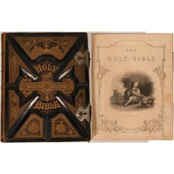 Holy Bible 1879 Pictorial, Carved Leather Boards Hard Bound  (116740)