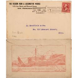 Risdon Iron Works Advertising Cover with Mine Dredge Vignette  (113017)
