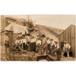 Rare Real Photo Postcard of Miners at Rawhide  (116042)
