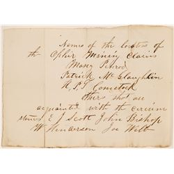 Period Pocket Note with Names of Ophir Mining Claim Locators and others Acquainted with its Story  (