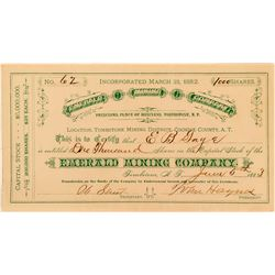 Emerald Mining Company Stock Certificate Issued to EB Gage  (116127)