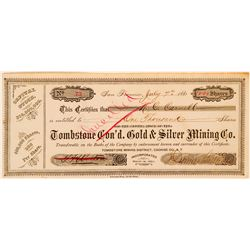 Tombstone Consolidated Gold & Silver Mining Co. Stock Certificate  (116126)