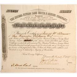 Sierra Nevada Lake Water & Mining Company Stock, Sierra County  (79706)