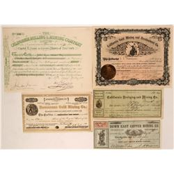5 Different California Mining Stock Certificates  (116983)