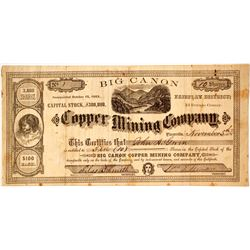 Big Canon Copper Mining Company Stock - NUMBER 1  (85427)