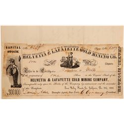 Helvetia & Lafayette Gold Mining Co. Stock Certificate / Letter  (107424)
