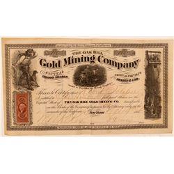 Oak Hill Gold Mining Company Stock Certificate  (107709)