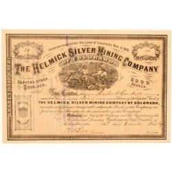 Helmick Silver Mining Company Stock Certificate  (106946)