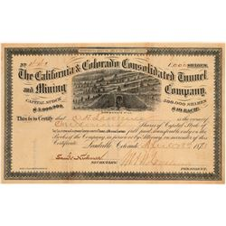 California & Colorado Cons. Tunnel & Mining Co. Stock signed by Loveland  (106929)
