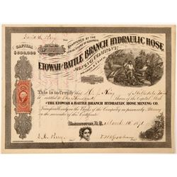 Etowah & Battle Branch Hydraulic Hose Mining Company Stock Certificate  (101772)