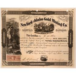 New York & Idaho Gold MC Stock, 1864  (110202)