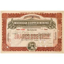 Michigan Copper Mining Company Stock Certificate  (116122)