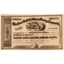 Washoe Gold & Silver Mining Company No. 1 Stock Certificate  (116707)