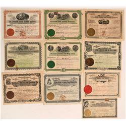 Ten Different Washington Mining Stock Certificates  (116959)