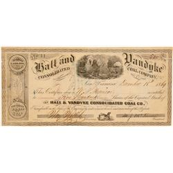 Hall & Vandyke Consolidated Coal Company Stock Certificate  (106945)