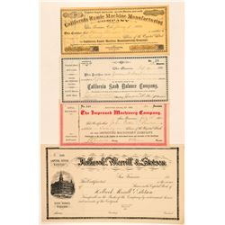 Industrial Revolution Stock Certificates from Cal. Lot of 4 Machinery/Manufacturing   (100823)