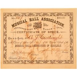 Musical Hall Association Stock issued to AJ Cartwright, Father of Baseball  (101544)