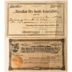 Two Hawaii Stock Certificates: Dry Goods & Preserving  (114988)