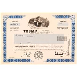 Trump Hotels & Casinos Stock Certificate  (112232)