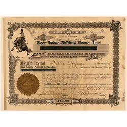 Deer Lodge Annual Rodeo, Inc. Stock Certificate  (115609)
