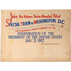 "Railroad Advertising Sign / "" Special Train To Washington, D.C.""  (109634)"