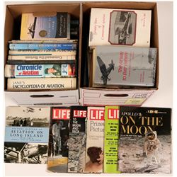 Aviation History Books (2 boxes) about 20 hardbacks, about 16 softcovers and 5 historical magazines