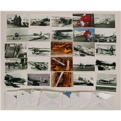 Collection of Biplane Photos and others ; About 70 sets of grouped Black/White photos of Air racers