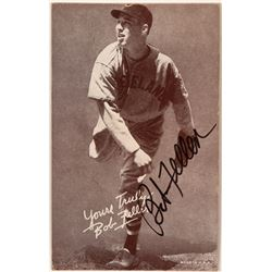 Signed Bob Feller Postcard Size Card  (116086)
