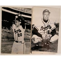 Milwaukee Braves Autographed Postcards (2)  (116090)