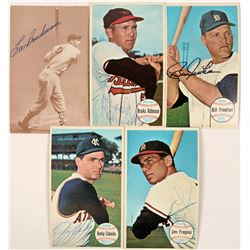 Five  Autographed Topps 1960's Baseball Cards  (116089)