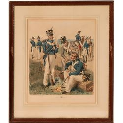 Buek Lithograph of Ogden Painting of Artillery, Infantry, Rifle, Dragoon, Cadet (1813-1816)  (105930