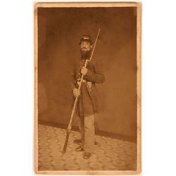 Civil War Soldier Holding Gun CDV  (111608)