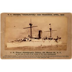 "U.S. Cruiser ""Charleston"" Cabinet Photo, Peters, San Francisco, 1890  (111601)"