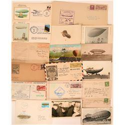 U.S. Airship Postal History: 9 Postcards 8 Covers  (116570)