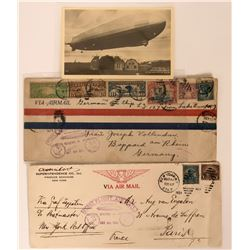 Lot of 3 First Flight Air Mail Collection Graf Zeppelin Airship   (116580)