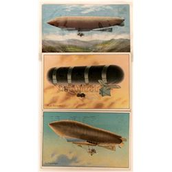 Three Early Airship Litho Pioneer Postcards  (116610)