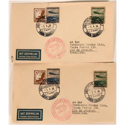 Two Hindenburg Germany to Brazil Covers  (116663)