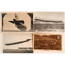 Zeppelin Wreck RPC 1916 and Three More Zeppelin Postcards  (116358)