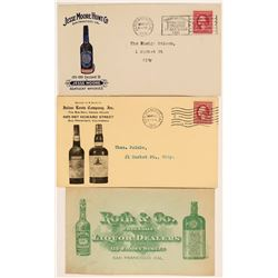 Three Illustrated San Francisco Whiskey Advertising Covers  (115137)