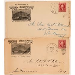 Two Hotel Crawford Corner Advertising Covers with RPOs  (112647)
