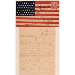 Patriotic Spanish-American War Cover & Letter (Fort Warren)  (113036)