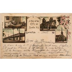 Pioneer Postcard Litho Santa Fe to France   (116366)