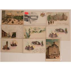 Ten Pioneer Postcards Litho NY Philadelphia Canada  (116362)