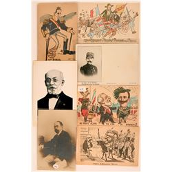 Eight French Political Postcards Litho RPC Early 1900's  (116387)