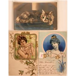 Three Pioneer Postcards Litho and RPC with Gems  (116385)