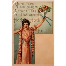 """German Art Card, """"Namens-Tage"""", Woman With Bouquet  (111573)"""