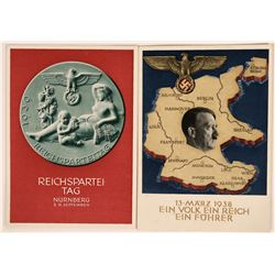Two German Postcards, 1938 and 1939 With Adolph Hitler  (111592)