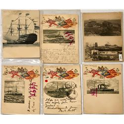 Group of British Ship Postcards by Tuck (7)  (111618)