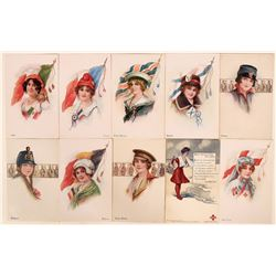 Group of Ten Red Cross Postcards Picturing Different Countries (10)  (111594)